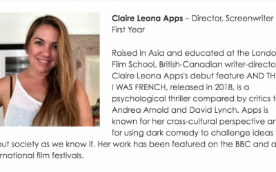 Claire Leona Apps has been invited to be a BAFTA LA newcomer
